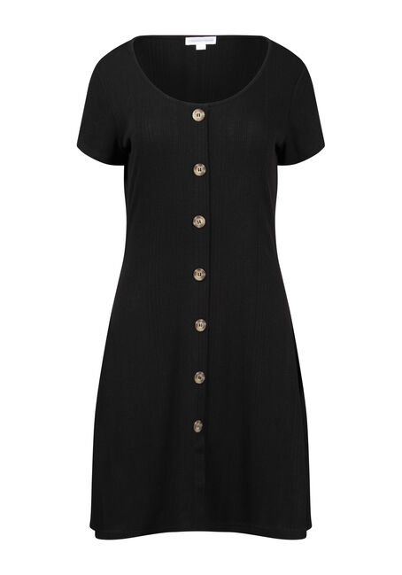 Women's Ribbed Button Front Dress