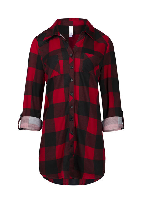 Women's Knit Buffalo Plaid Tunic Shirt