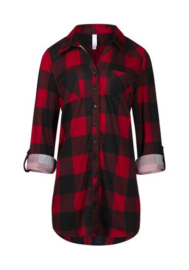 Women's Knit Buffalo Plaid Tunic Shirt, RED, hi-res