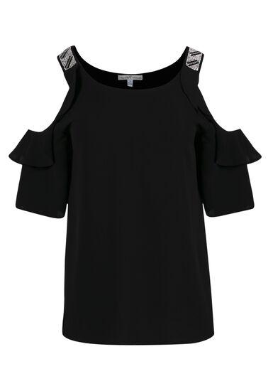 Women's Cold Shoulder Beaded Top, BLACK, hi-res