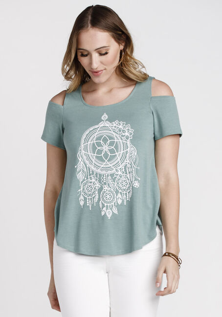 Women's Dreamcatcher Cold Shoulder Tee, SAGE, hi-res