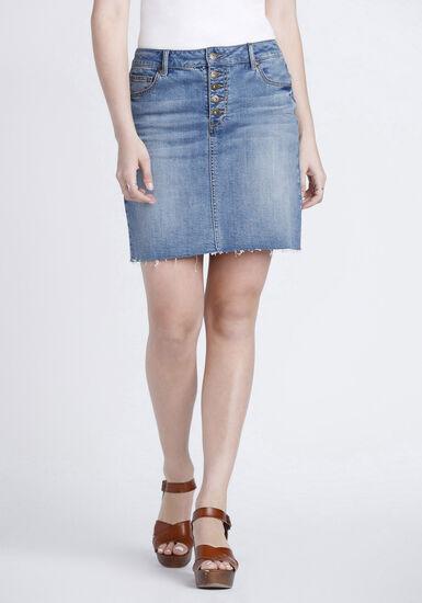 Women's Exposed Button Fly Denim Skirt, DENIM, hi-res