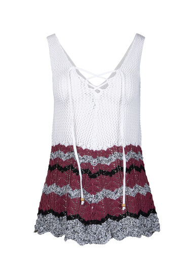 Women's Lace Up Sweater Tank, WHITE, hi-res
