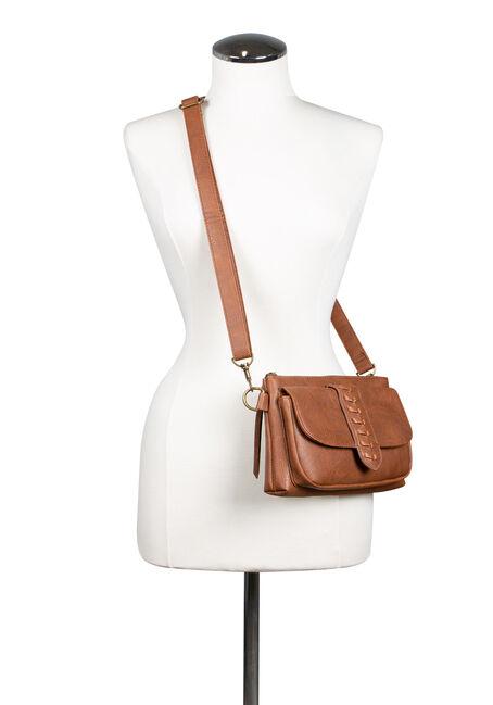 Women's Whip Stitch Cross Body Bag, COGNAC, hi-res