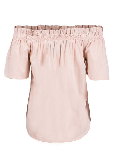 Ladies' Embroidered Bardot Top, PEACH, hi-res
