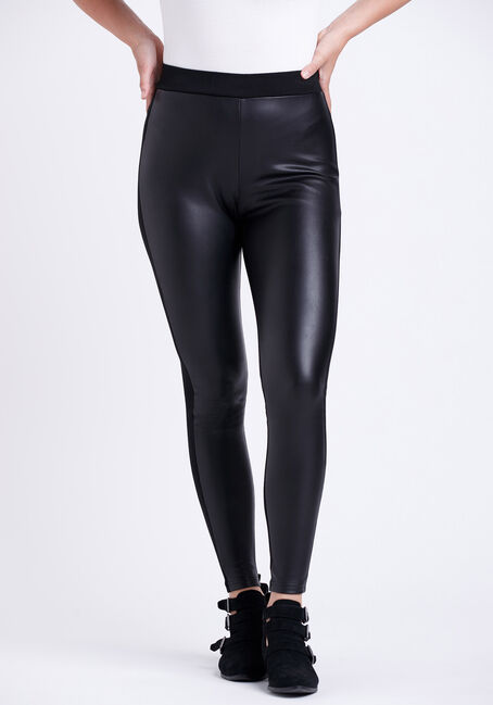 Women's Faux Leather Pull-on Ponte Legging