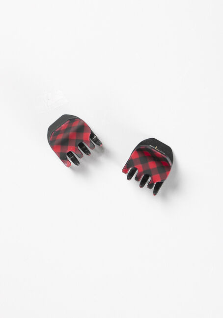 Women's Hair Claw Clips, RED/BLACK, hi-res