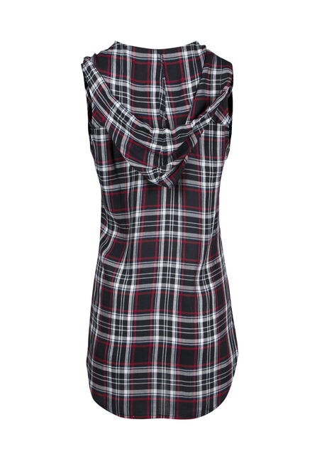 Ladies' Hooded Plaid Shirt, RED, hi-res