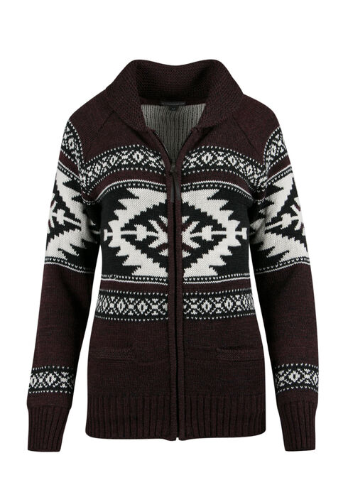 ladies' Nordic Zip Cardigan, BURGUNDY, hi-res