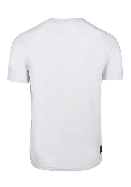 Men's V-neck Graphic Tee, WHITE, hi-res