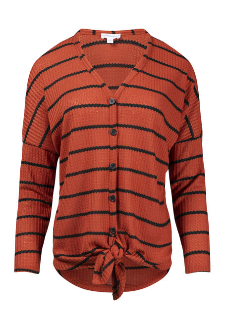 Women's Striped Button Front Waffle Top