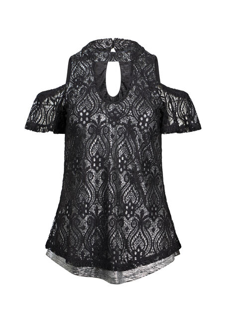 Women's Lace Overlay Cold Shoulder Top