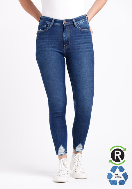 Women's High Rise Chewed Hem Ankle Skinny Jeans