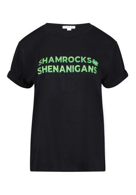 Women's Shamrock Boyfriend Tee, BLACK, hi-res