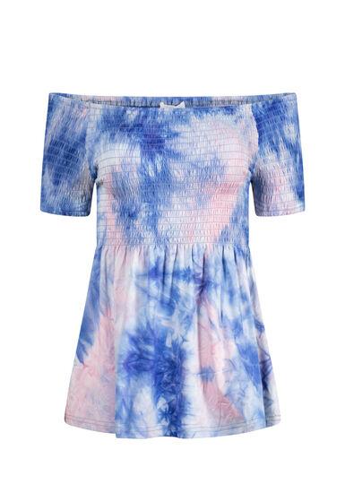 Women's Tie-Dye Bardot Top, BLUE, hi-res