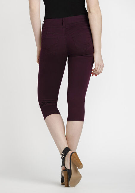 Women's Coloured Skinny Capri, BURGUNDY, hi-res