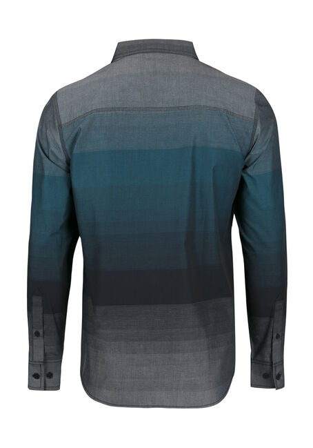 Men's Relaxed Stripe Shirt, TEAL, hi-res