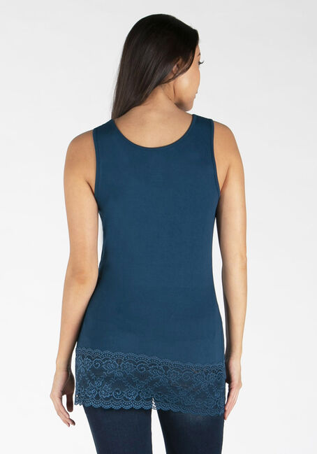 Women's Lace Trim Tunic Tank, TEAL, hi-res