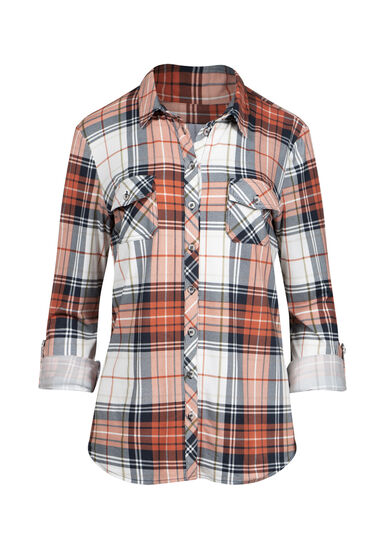 Women's 2-Pocket Knit Plaid Shirt, TERRACOTA, hi-res