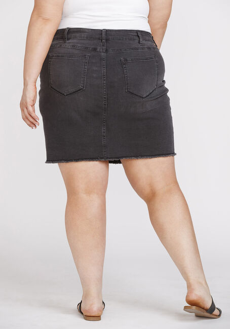 Women's Plus Size Exposed Button Frayed Hem Skirt, BLACK, hi-res