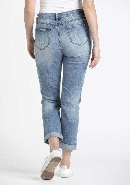 Women's Destroyed Cuffed Girlfriend Jeans, MEDIUM WASH, hi-res