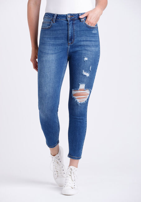 Women's High Rise Destroyed Mom Crop Skinny Jeans