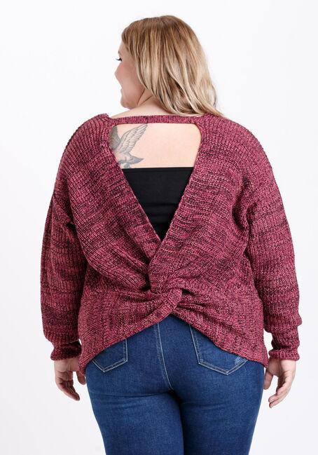 Women's Twist Back Sweater, SANGRIA, hi-res