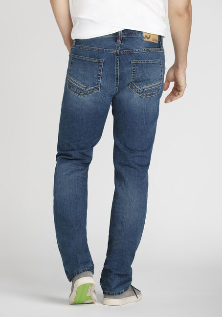 Men's Mid Wash Slim Straight Jeans, MEDIUM WASH, hi-res