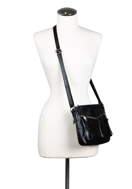 Women's Double Zipper Cross Body Bag, BLACK, hi-res
