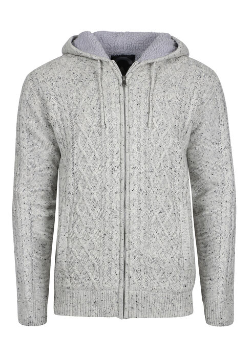 Men's Cable Knit Sweater Jacket, OATMEAL, hi-res