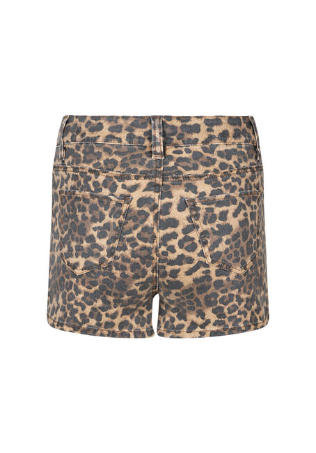 Women's High Rise Leopard Print Short, GOLD, hi-res