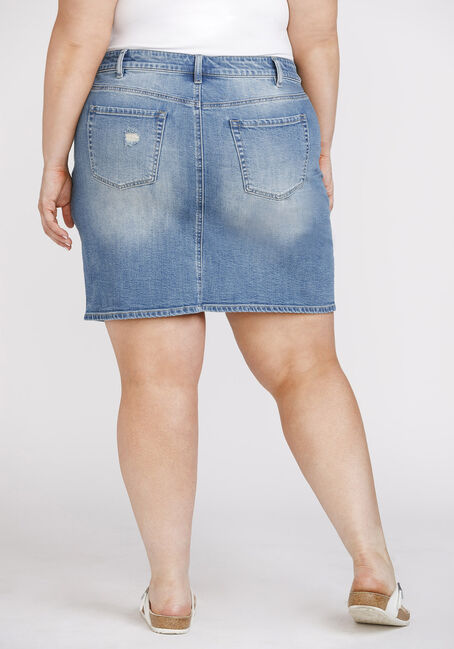 Women's Plus Size Vintage Denim Skirt, DENIM, hi-res