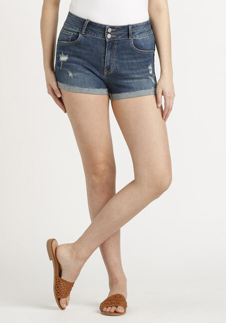 Women's 2 Button Destroyed Cuffed Short