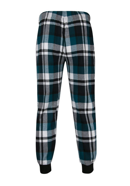 Men's Plaid Flannel Jogger, TURQUOISE, hi-res