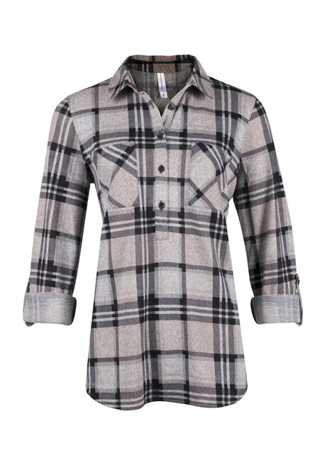 Ladies' Knit Popover Plaid Shirt