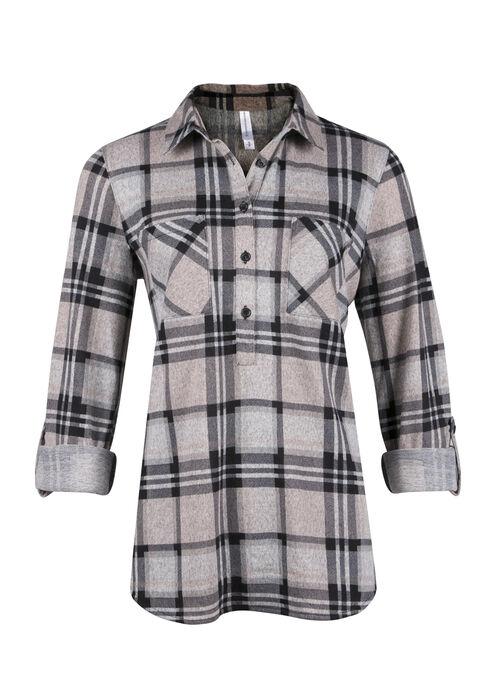 Ladies' Knit Popover Plaid Shirt, PEACH, hi-res
