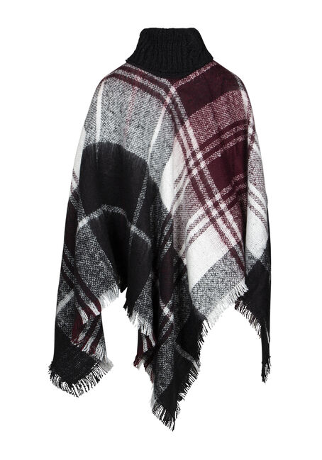 Women's Plaid Cowl Neck Poncho, BLACK/IVORY/BURG, hi-res