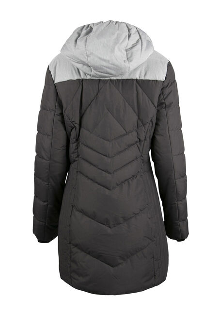 Ladies' Colour Block Quilted Parka, SLATE/LT ASH, hi-res