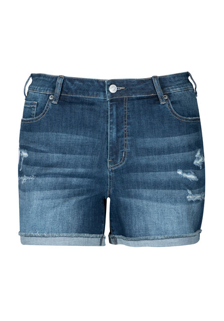 Women's Plus Size Cuffed Mid Rise Jean Short