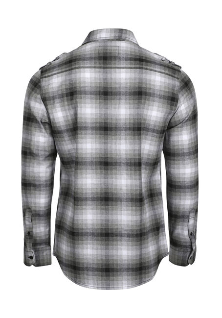 Men's Shadow Plaid Flannel Shirt, BLK/WHT, hi-res
