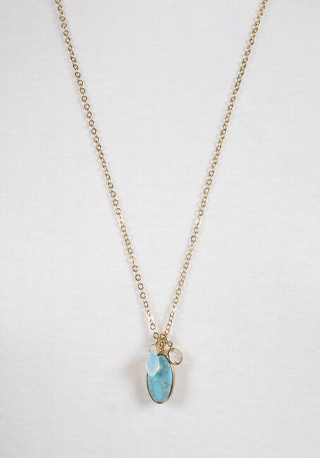 Ladies' Turquoise Charm Necklace, GOLD, hi-res