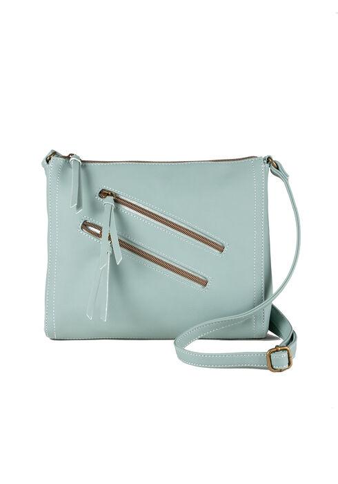 Women's Double Zipper Cross Body Bag, PALE BLUE, hi-res