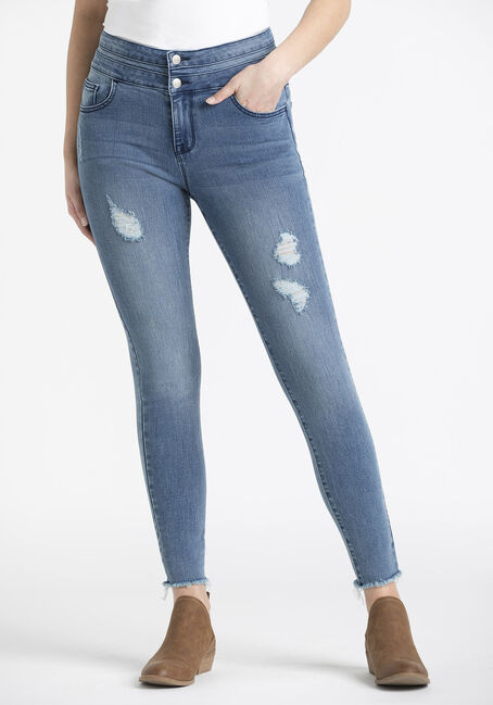 Women's 2 Button Raw Hem Ankle Skinny Jeans