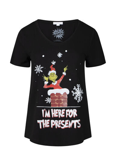 Women's Grinch V-Neck Tee, BLACK, hi-res