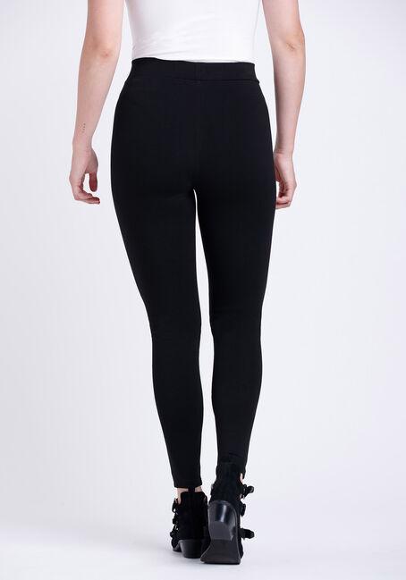 Women's Faux Leather Pull-on Ponte Legging, BLACK, hi-res