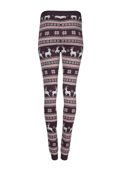 Ladies' Reindeer Sweater Legging, PASS.PURPLE, hi-res