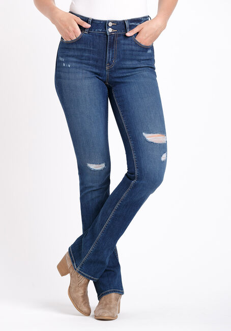 Women's 2 Button Destroyed Baby Boot Jeans