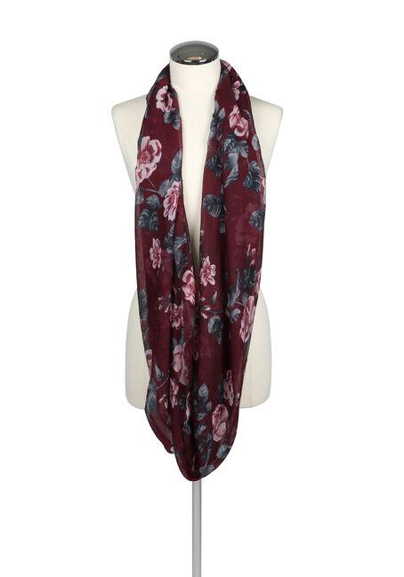 Ladies' Floral Infinity Scarf, BURGUNDY, hi-res