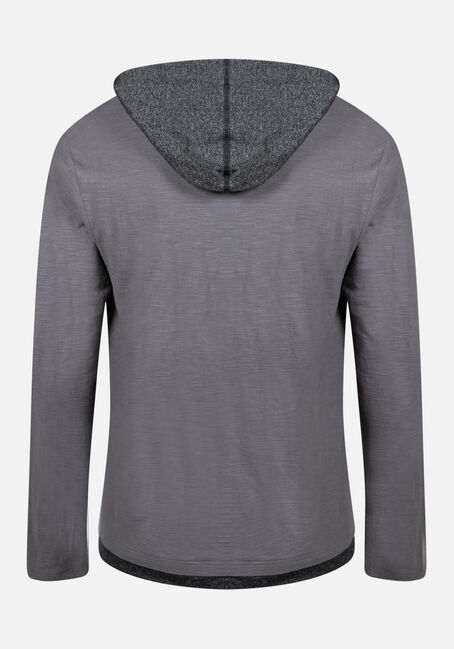 Men's Everyday Colour Contrast Hooded Tee, ARMOR GREY, hi-res