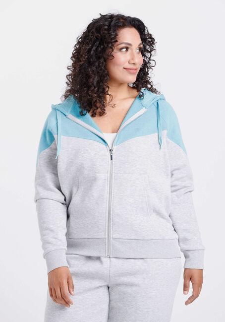 Women's Colour Block Zip Front Hoodie